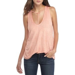 FREE PEOPLE Amelia Y-Strap Tank Top Peach NWT